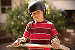 Young boy with skateboard