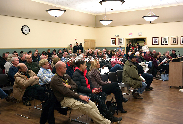 Torrington, CT- 12 January 2016-011216CM06- A packed room inside the Torrington City Hall is shown on Tuesday.  Mayor Elinor C. Carbone hosted an informational meeting with city officials so that residents can ask questions regarding the city's streetlight master plan.  Christopher Massa Republican-American