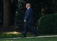 United States President Donald J. Trump walks from the Oval Office to make remarks to reporters at the White House in Washington, DC prior to boarding Marine One for a trip to Cincinnati, Ohio where he will participate in a fundraising committee reception and deliver remarks at a Make America Great Again rally on Thursday, August 1, 2019. Photo Credit: Ron Sachs/CNP/AdMedia