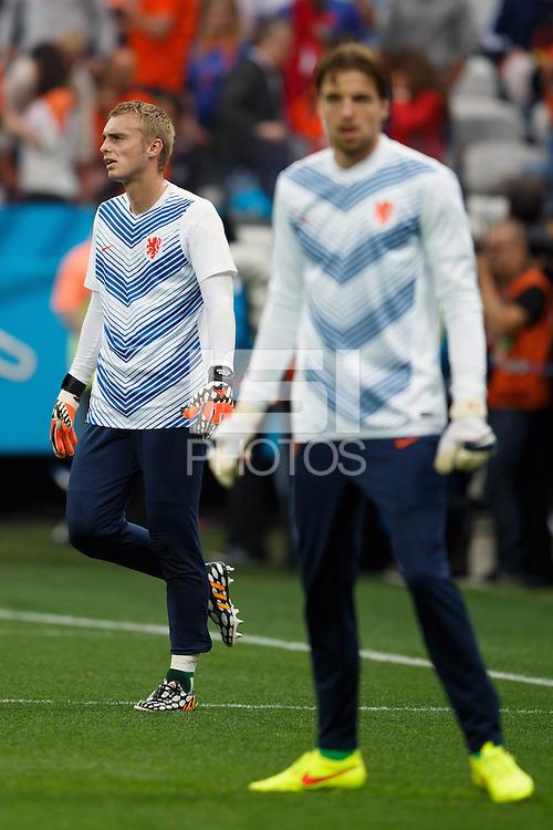 Goalkeeper Jasper Cillessen of the Netherlands and Goalkeeper Tim Krul