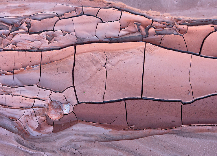Abstract pattern of mud in the Upper Cathedral Wash in the Glen Canyon National Recreation Area in northern Arizona, USA.