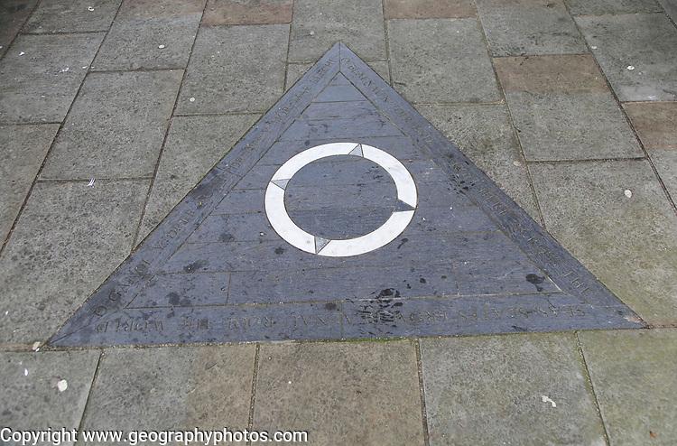 Distance rail marker zero miles, Blaenau Ffestiniog, Gwynedd, north Wales, UK