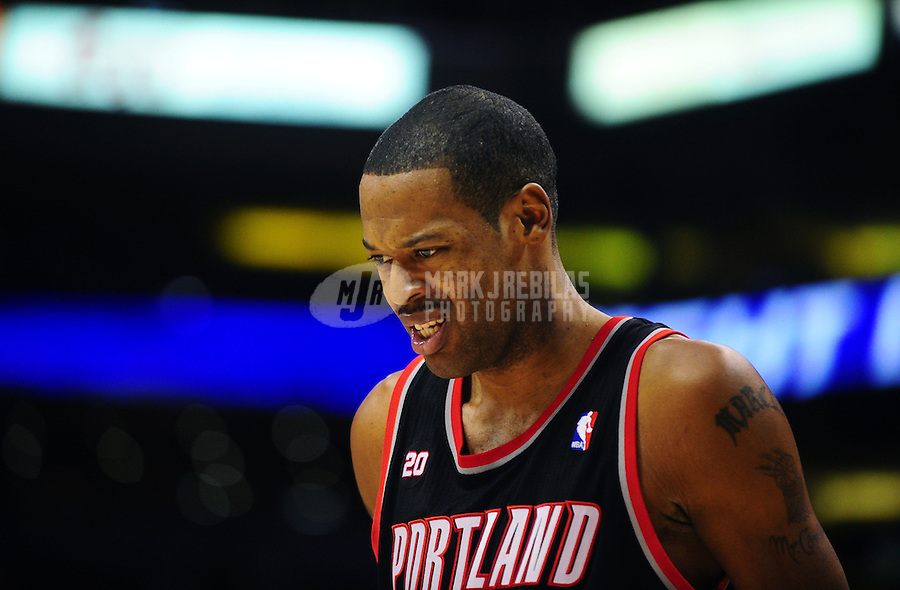 Jan. 14, 2011; Phoenix, AZ, USA; Portland Trailblazers center (23) Marcus Camby reacts in the second half against the Phoenix Suns at the US Airways Center. The Suns defeated the Trailblazers 115-111. Mandatory Credit: Mark J. Rebilas-