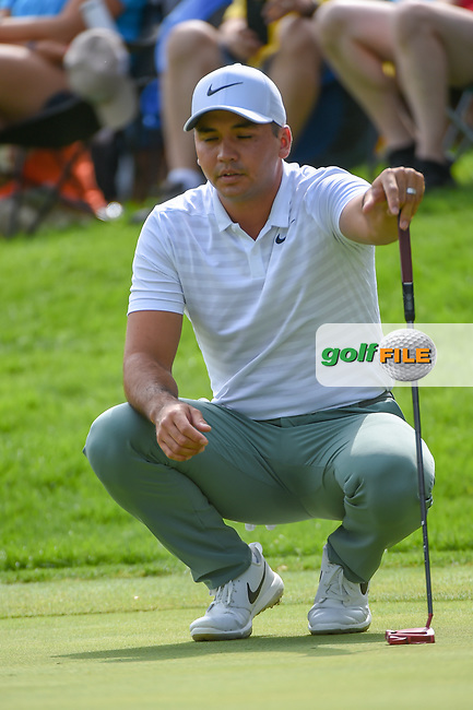 Jason Day (AUS) visualizes his putt on 12 during 1st round of the World Golf Championships - Bridgestone Invitational, at the Firestone Country Club, Akron, Ohio. 8/2/2018.<br /> Picture: Golffile | Ken Murray<br /> <br /> <br /> All photo usage must carry mandatory copyright credit (© Golffile | Ken Murray)