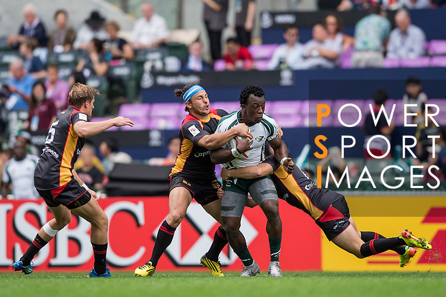 Zimbabwe v Germany during the HK Rugby Sevens 2016 on 08 April 2016 at Hong Kong Football Club in Hong Kong, China. Photo by Li Man Yuen / Power Sport Images