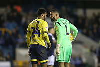 Millwall's Jordan Archer and Blackburn Rovers' Joe Nuttall have a disagreement<br /> <br /> Photographer Rob Newell/CameraSport<br /> <br /> The EFL Sky Bet Championship - Millwall v Blackburn Rovers - Saturday 12th January 2019 - The Den - London<br /> <br /> World Copyright &copy; 2019 CameraSport. All rights reserved. 43 Linden Ave. Countesthorpe. Leicester. England. LE8 5PG - Tel: +44 (0) 116 277 4147 - admin@camerasport.com - www.camerasport.com