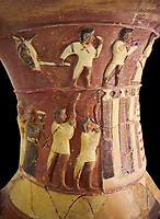 Hüseyindede vases, Old Hittite Polychrome Relief vessel close up  depicting top and second friezes showing a procession of musicians and dancers moving towards a temple building, 16th century BC. Huseyindede. Çorum Archaeological Museum, Corum, Turkey. Against a black bacground.