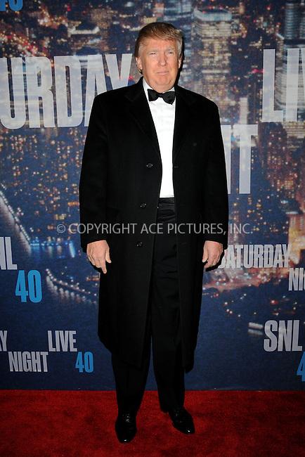 WWW.ACEPIXS.COM<br /> February 15, 2015 New York City<br /> <br /> Donald Trump walking the red carpet at the SNL 40th Anniversary Special at 30 Rockefeller Plaza on February 15, 2015 in New York City.<br /> <br /> Please byline: Kristin Callahan/AcePictures<br /> <br /> ACEPIXS.COM<br /> <br /> Tel: (646) 769 0430<br /> e-mail: info@acepixs.com<br /> web: http://www.acepixs.com