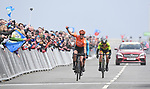 Marianne Vos (NED) CCC-Liv wins the final stage in Scarborough outsprinting Mavi Victo Garcia (ESP) MovistarTeam Women and Soraya Paladin (ITA) Ale Cipollini at the end of Stage 2 of the 2019 ASDA Tour de Yorkshire Women's Race, running 132km from Bridlington to Scarborough, Yorkshire, England. 4th May 2019.<br /> Picture: ASO/SWPix | Cyclefile<br /> <br /> All photos usage must carry mandatory copyright credit (© Cyclefile | ASO/SWPix)