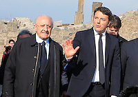 Italy's premier Matteo Renzi with Vincenzo De Luca attends at ceremony of reopening  Six ancient residences, or 'domus', at archaeological excavations of Pompeii following restoration.<br /> <br /> Pompei  sei domus riaprono al pubblico dopo il restauro