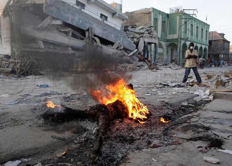 Earthquake aftermath in Port-Au-Prince, Haiti, on January 20, 2010..