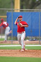 Philadelphia Phillies Damek Tomscha (26) during a minor league Spring Training game against the Toronto Blue Jays on March 26, 2016 at Englebert Complex in Dunedin, Florida.  (Mike Janes/Four Seam Images)