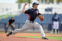 Minnesota Twins pitcher J.T. Chargois (83) during an Instructional League game against the Tampa Bay Rays on September 16, 2014 at Charlotte Sports Park in Port Charlotte, Florida.  (Mike Janes/Four Seam Images)
