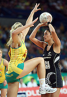 02.11.2008 Silver Ferns Maria Tutaia and Australia's Laura Geitz in action during the Holden International Netball test match between the Silver Ferns and Australia played at Brisbane Entertainment Centre in Brisbane Australia. Mandatory Photo Credit ©Michael Bradley.