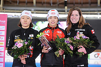 SCHAATSEN: BERLIJN: Sportforum, Essent ISU World Cup Speed Skating | The Final, 10-03-2012, Podium 500m Ladies, Sang-Hwa Lee (KOR), Jing Yu (CHN), Christine Nesbitt (CAN), ©foto Martin de Jong