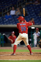 Clearwater Threshers third baseman Brian Mims (10) at bat during a game against the Florida Fire Frogs on June 1, 2018 at Spectrum Field in Clearwater, Florida.  Florida defeated Clearwater 12-10.  (Mike Janes/Four Seam Images)