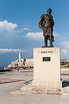 Havana, Cuba; the statue of Miranda with the Morro fortress behind in late afternoon sunlight