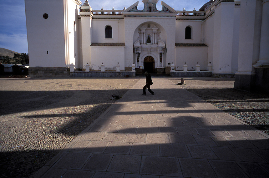 Shadows paint the plaza in front of the basilica of Our Lady of Copacabana on the Bolivian shore of Lake Titicaca.