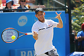 June 18th 2017, Nottingham, England; ATP Aegon Nottingham Open Tennis Tournament day 7 finals day; Dudi Sela of Israel plays a forehand in the men's final againstThomas Fabbiano of Italy