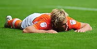 Blackpool's Brad Potts looks dejected after missing a good chance<br /> <br /> Photographer Kevin Barnes/CameraSport<br /> <br /> Football - The EFL Sky Bet League Two - Blackpool v Exeter City - Saturday 6th August 2016 - Bloomfield Road - Blackpool<br /> <br /> World Copyright &copy; 2016 CameraSport. All rights reserved. 43 Linden Ave. Countesthorpe. Leicester. England. LE8 5PG - Tel: +44 (0) 116 277 4147 - admin@camerasport.com - www.camerasport.com