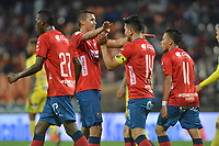 MEDELLIN - COLOMBIA, 01-05-2019: German Cano (#14) del Medellín celebra con sus compañeros después de anotar el primer gol de su equipo durante partido por la fecha 19 de la Liga Águila I 2019 entre Deportivo Independiente Medellín y Atletico Huila jugado en el estadio Atanasio Girardot de la ciudad de Medellín. / German Cano (#14) of Medellin celebrates after scoring the first goal of his team during match for the date 19 of the Aguila League I 2019 between Deportivo Independiente Medellin and Atletico Huila played at Atanasio Girardot stadium in Medellin city. Photo: VizzorImage / Leon Monsalve / Cont