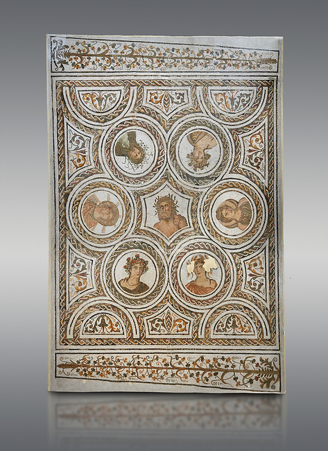 Picture of a Roman mosaics design depicting the Four Seasons; from the ancient Roman city of Thysdrus. 3rd century AD. El Djem Archaeological Museum; El Djem; Tunisia.