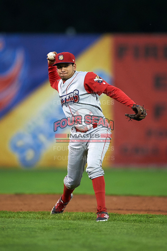 Williamsport Crosscutters shortstop William Cuicas (8) throws to first during a game against the Batavia Muckdogs on August 27, 2015 at Dwyer Stadium in Batavia, New York.  Batavia defeated Williamsport 3-2.  (Mike Janes/Four Seam Images)