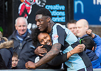 Anthony Stewart of Wycombe Wanderers at the final whistle during the Sky Bet League 2 match between Wycombe Wanderers and Barnet at Adams Park, High Wycombe, England on 16 April 2016. Photo by Andy Rowland.