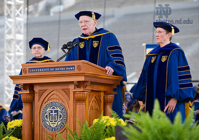 May 19, 2013; 2013  Rev. James H. McCarthy speaks after being awarded the Laetare Medal with co-awardees Sister Mary Therese Harrington, S.H. (left) and Sister Susanne Gallagher, S.P., at the 2013 Commencement ceremony in Notre Dame Stadium...Photo by Matt Cashore/University of Notre Dame
