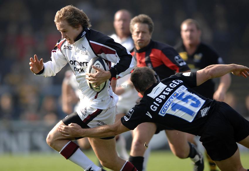 Photo: Richard Lane..London Wasps v Newcastle Falcons. Guinness Premiership. 15/10/2006. .Falcons' Mathew Tait breaks past Mark Van Gisbergen for a try.