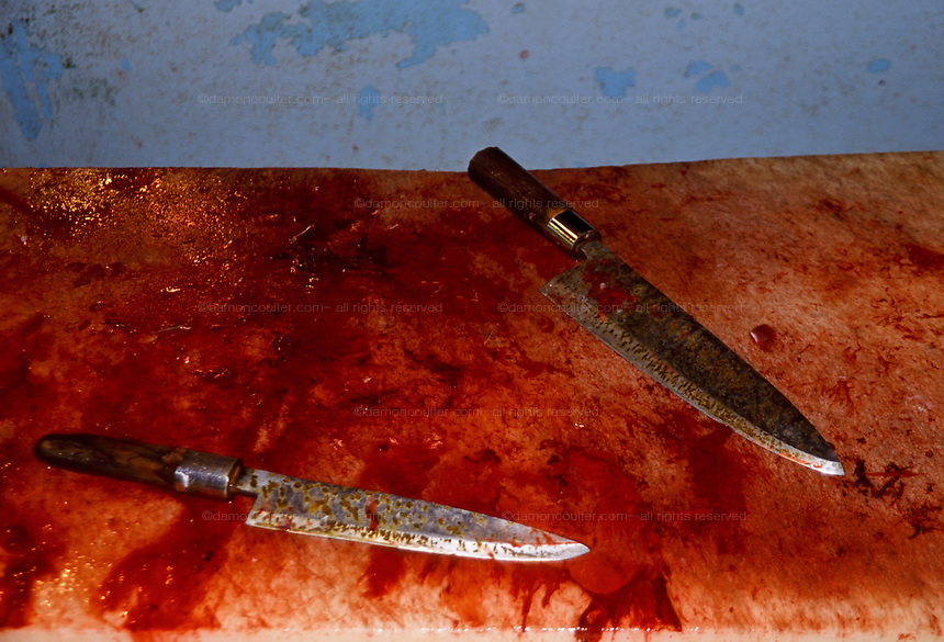 Detail image of two knives on a blood covered work counter used for claening fish at  Tsukiji Wholesale fish market n Tokyo, Japan. May 11th 2006