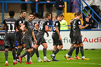 Lincoln City's Jason Shackell, second in from left, celebrates scoring his side's second goal with team-mates<br /> <br /> Photographer Andrew Vaughan/CameraSport<br /> <br /> The EFL Sky Bet League One - Macclesfield Town v Lincoln City - Saturday 15th September 2018 - Moss Rose - Macclesfield<br /> <br /> World Copyright &copy; 2018 CameraSport. All rights reserved. 43 Linden Ave. Countesthorpe. Leicester. England. LE8 5PG - Tel: +44 (0) 116 277 4147 - admin@camerasport.com - www.camerasport.com