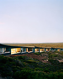 AUSTRALIA, Kangaroo Island, Hanson Bay, Rooms at the Southern Ocean Lodge, a luxury spa hotel at sunset