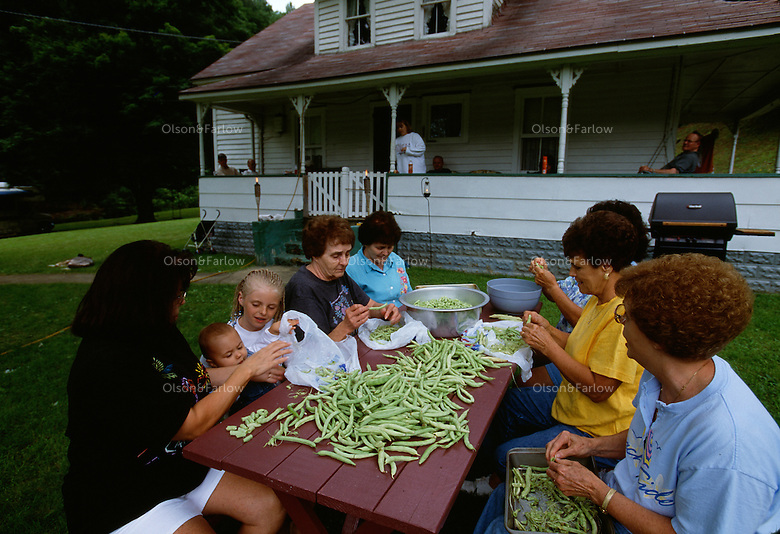 "Women folks gather at the picnic table to work on beans they will put up. Caudill family members gather on weekends and work in the garden and to maintain the homestead.<br />  <br /> It took several years and a lot of money and determination, but kin of the Caudill family fought to keep their family homestead on Mud River from being taken over by St. Louis-based Arch Coal Company. Nearly swindled out of their homestead, they battled all the way to the West Virginia Supreme Court where they finally won their case.<br /> <br /> For 100 years, Miller's wife and family owned the 75-acre tract that includes a farmhouse, built in 1920, several small barns and a garden. <br /> <br /> John Caudill, a coal miner who was blinded in a mining accident in the 1930s, and his wife, Lydia Caudill, raised 10 children in the home. Today, the family no longer lives there. The heirs spend almost every weekend there. <br /> <br /> Arch Coal wanted to tear down the family's ancestral home. It stands in the way of the company's plans to continue to expand its Hobet 21 mountaintop removal complex. Last year, <br /> Hobet 21 produced about 5.2 million tons of coal, making it among the largest surface mines in the state. Under Hobet's <br /> plans, ""a valley fill and in impoundment pond would destroy <br /> and inundate the farmhouse and outbuildings and bury the immediate surrounding land under the valley fill.""  A lower court agreed with the company, but in the end, the family won."