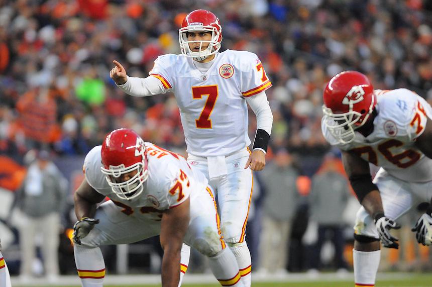 14 NOVEMBER 2010:  Chiefs quarterback Matt Cassel  during a regular season National Football League game between the Kansas City Chiefs and the Denver Broncos at Invesco Field at Mile High in Denver, Colorado. The Broncos beat the Chiefs 49-29.