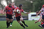 Gary Saifoloi is ready to fend off the Tasman defenders. Air New Zealand Air NZ Cup warm-up rugby game between the Counties Manukau Steelers & Tasman Mako's, played at Growers Stadium Pukekohe on Sunday July 20th 2008..Counties Manukau won the match 30 - 7.