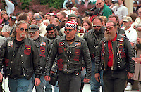 Biker veterans age 55 marching in Memorial Day procession at Vietnam Wall. St Paul Minnesota USA