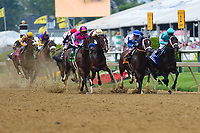 Baltimore, MD - May 18, 2019: The field enters the final stretch of the 144th running of the Preakness in Baltimore, MD May 18, 2019. Tyler Gaffalione aboard War of Will went on to win the race.  (Photo by Don Baxter/Media Images International)