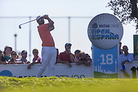 Rikard Karlberg (SWE) on the 18th tee during the third round of the Mutuactivos Open de Espana, Club de Campo Villa de Madrid, Madrid, Madrid, Spain. 05/10/2019.<br /> Picture Hugo Alcalde / Golffile.ie<br /> <br /> All photo usage must carry mandatory copyright credit (© Golffile | Hugo Alcalde)