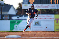 State College Spikes left fielder Vincent Jackson (40) running the bases during a game against the Batavia Muckdogs on June 24, 2016 at Dwyer Stadium in Batavia, New York.  State College defeated Batavia 10-3.  (Mike Janes/Four Seam Images)