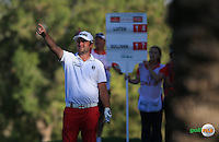 From the rough Andy Sullivan (ENG) plays second shot to the last during the Final Round of the 2016 Omega Dubai Desert Classic, played on the Emirates Golf Club, Dubai, United Arab Emirates.  07/02/2016. Picture: Golffile | David Lloyd<br /> <br /> All photos usage must carry mandatory copyright credit (&copy; Golffile | David Lloyd)