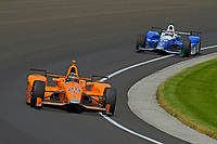 Verizon IndyCar Series<br /> Indianapolis 500 Carb Day<br /> Indianapolis Motor Speedway, Indianapolis, IN USA<br /> Friday 26 May 2017<br /> Fernando Alonso, McLaren-Honda-Andretti Honda, Takuma Sato, Andretti Autosport Honda<br /> World Copyright: F. Peirce Williams