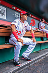 20 May 2018: Washington Nationals outfielder Juan Soto sits in the dugout prior to his first Major League appearance against the Los Angeles Dodgers at Nationals Park in Washington, DC. The Dodgers defeated the Nationals 7-2, sweeping their 3-game series. Mandatory Credit: Ed Wolfstein Photo *** RAW (NEF) Image File Available ***