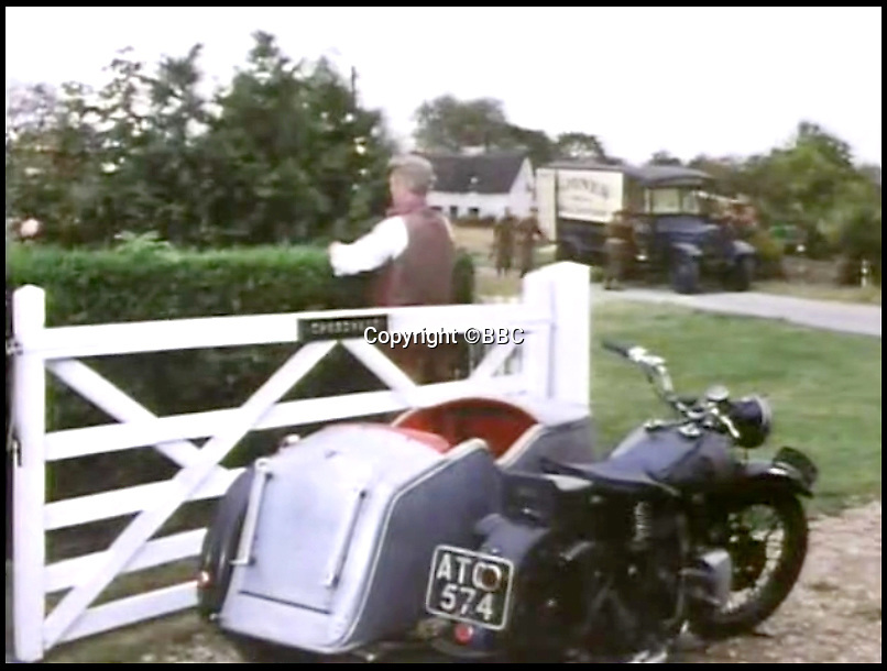 BNPS.co.uk (01202)558833Pic:  BBC<br /> <br /> The bike featured in a famous episode of the classic comedy Dad's Army, 'Round and Round Went the Great Big Wheel'<br /> <br /> Don't tell him bike...<br /> <br /> A classic motorcycle and sidecar that appeared in TV's Dad's Army and George & Mildred has sold for over £70,000.<br /> <br /> The 1933 Brough Superior 11-50 belonged to a car dealer for decades who regularly loaned it out to TV production companies.<br /> <br /> It appeared in a classic episode of Dad's Army when it was used by Captain Mainwaring to try and stop and out-of-control exploding wheel.