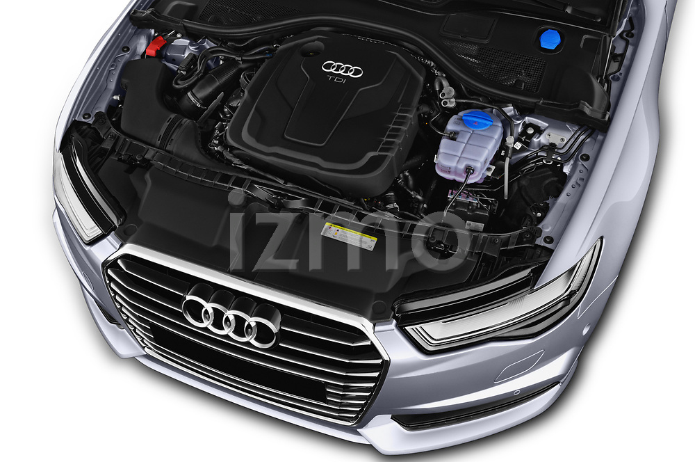 Car stock 2018 Audi A6 Avant Business Edition 5 Door Wagon engine high angle detail view