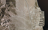Aerial photograph of Desert Shores, Salton Sea, Riverside County, California