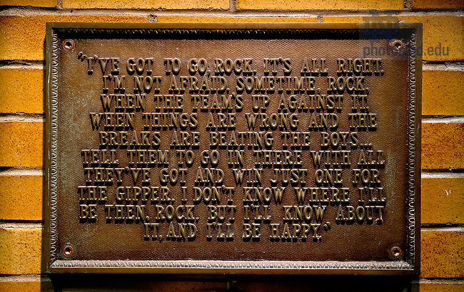 "Plaque inscribed with George Gipp's ""Win One for the Gipper"" request to coach Knute Rockne...Photo by Matt Cashore/University of Notre Dame"