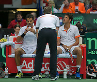 01-02-14,Czech Republic, Ostrava, Cez Arena, Davis Cup Czech Republic vs Netherlands,  Haase/Rojer(NED)being coached by captain Jan Siemerink<br /> Photo: Henk Koster