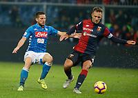 Dries Mertens of Napoli Domenico Criscito of Genoa  during  Genoa -   Napoli Stadio Luigi Ferraris, Genoa, Italy; Serie A football 10th November 2018