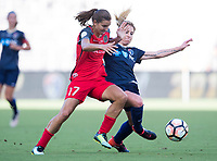 Orlando, FL - Saturday October 14, 2017: Tobin Heath and McCall Zerboni during the NWSL Championship match between the North Carolina Courage and the Portland Thorns FC at Orlando City Stadium.   The Portland Thorns won the championship, 1-0.